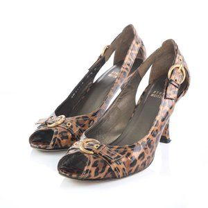 Stuart Weitzman Leopard Print Peep Toe Pumps Heels